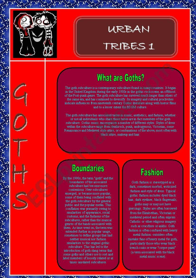 Urban Tribes :Goths worksheet
