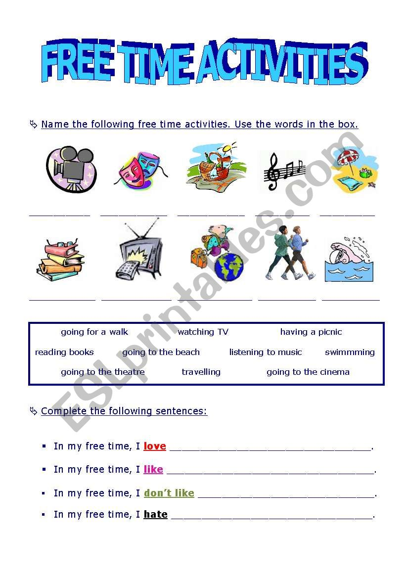 - FREE TIME ACTIVITIES - ESL Worksheet By Xana Machado