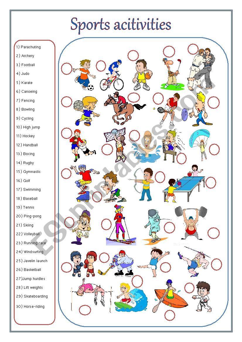 SPORTS ACTIVITIES worksheet