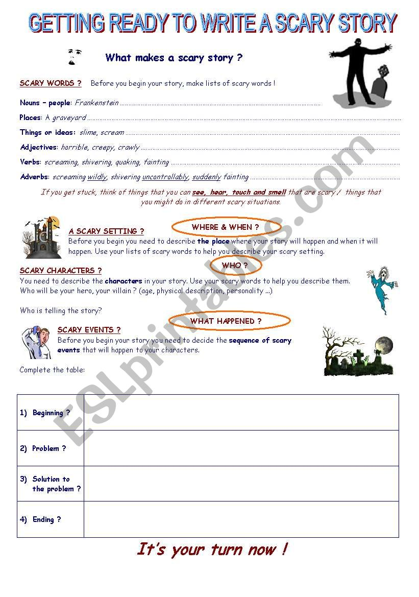 Writing a scary story worksheet