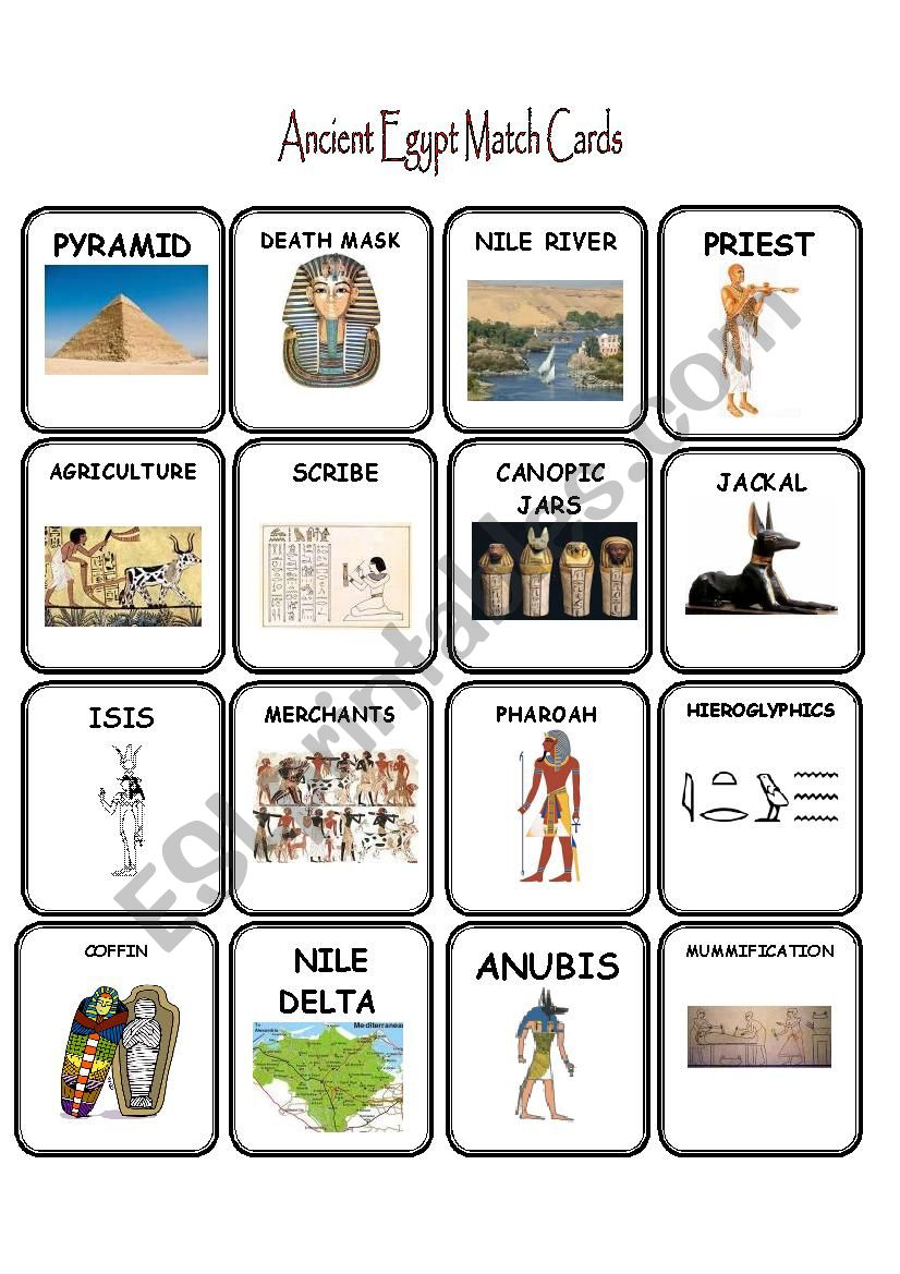 Ancient Egypt Match Cards worksheet