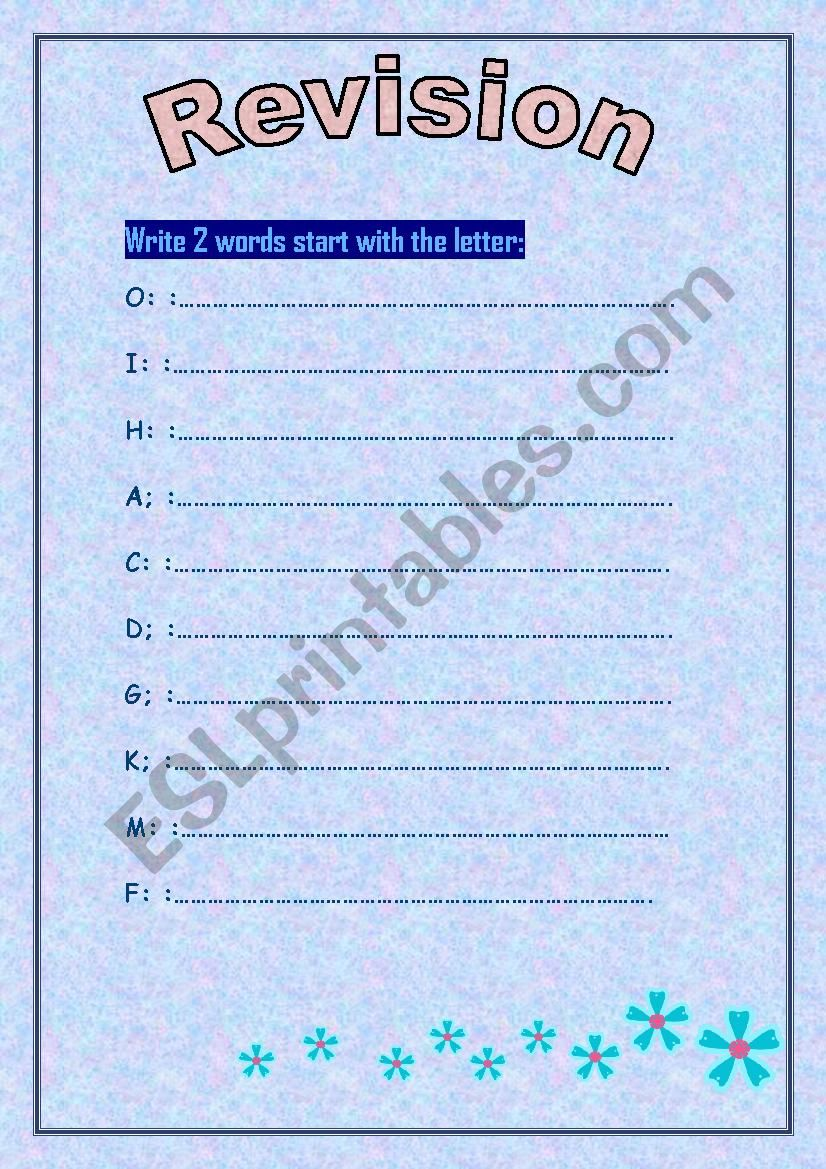 my abc words - revision  worksheet