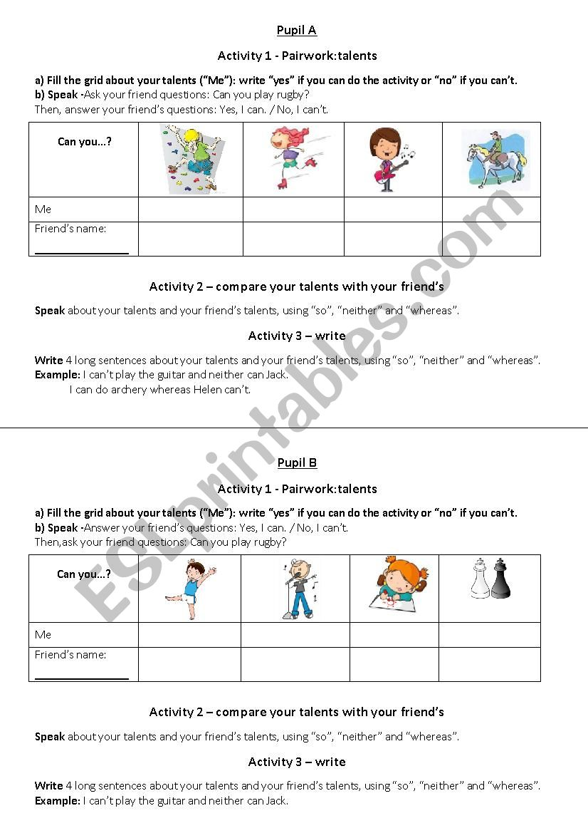 compare your talents pairwork worksheet