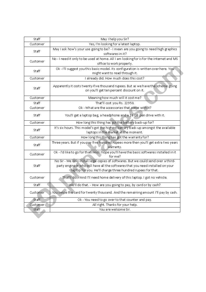 Buying a laptop worksheet
