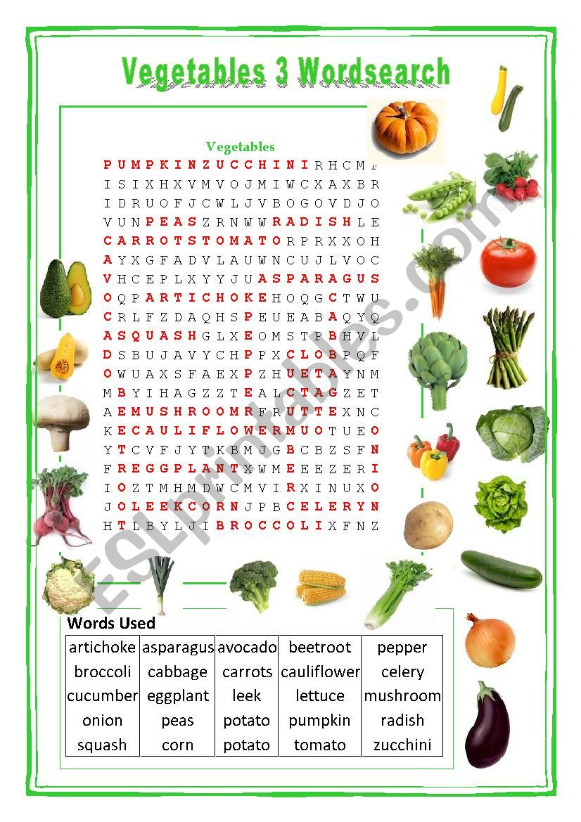 Vegetables Wordsearch 3 worksheet