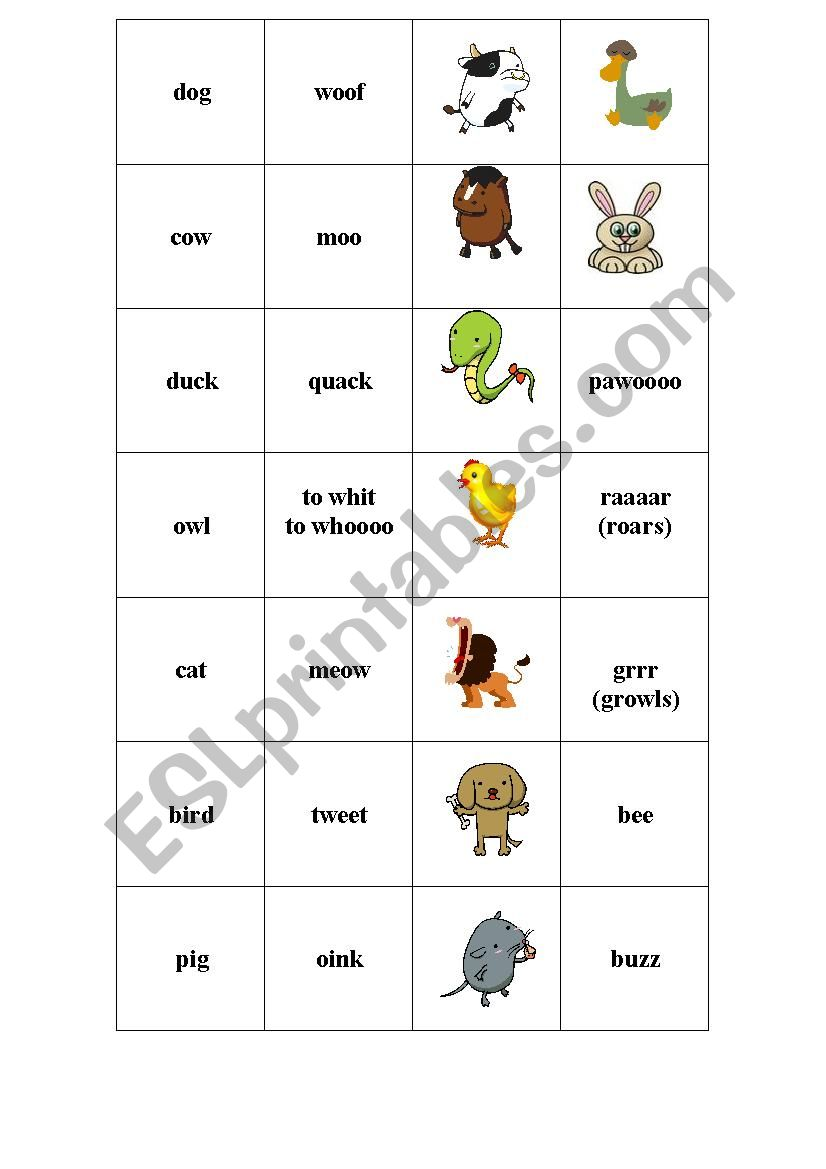 Sounds of the animals worksheet