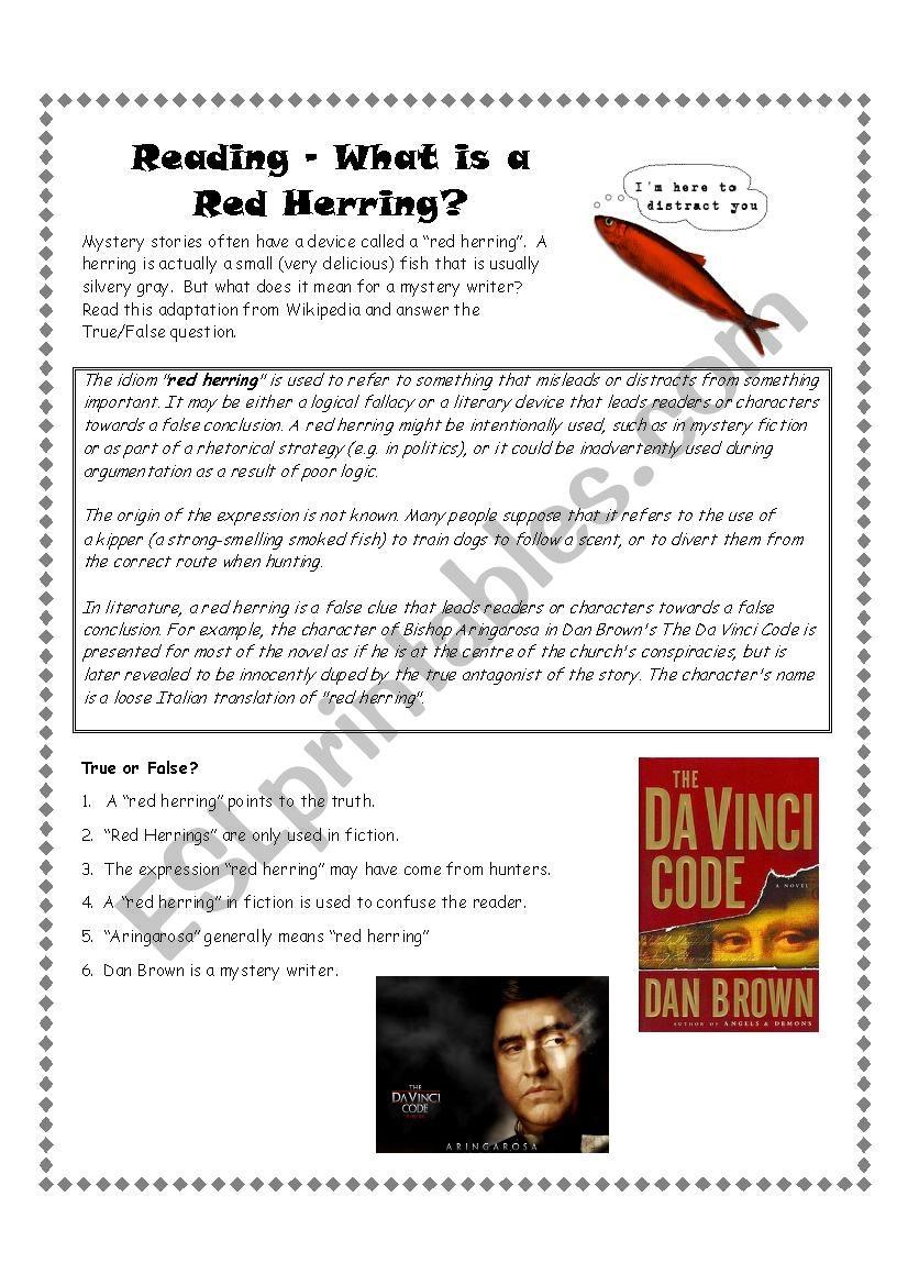 Red Herring Reading Exercise worksheet