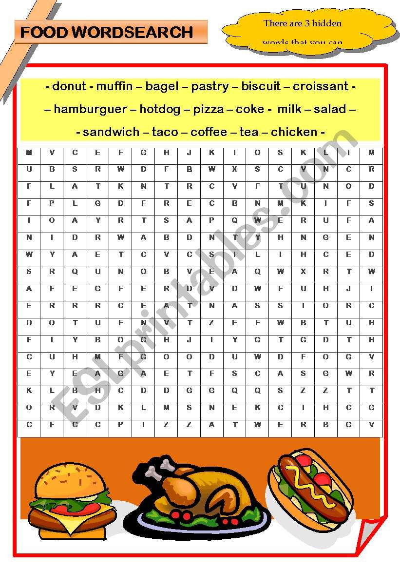 FOOD Wordsearch worksheet