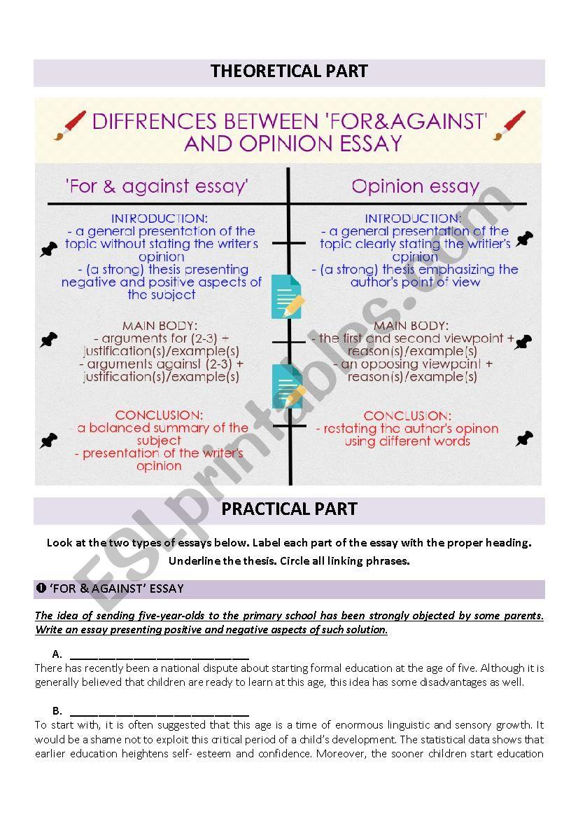 DIFFERENCES BETWEEN ESSAYS worksheet