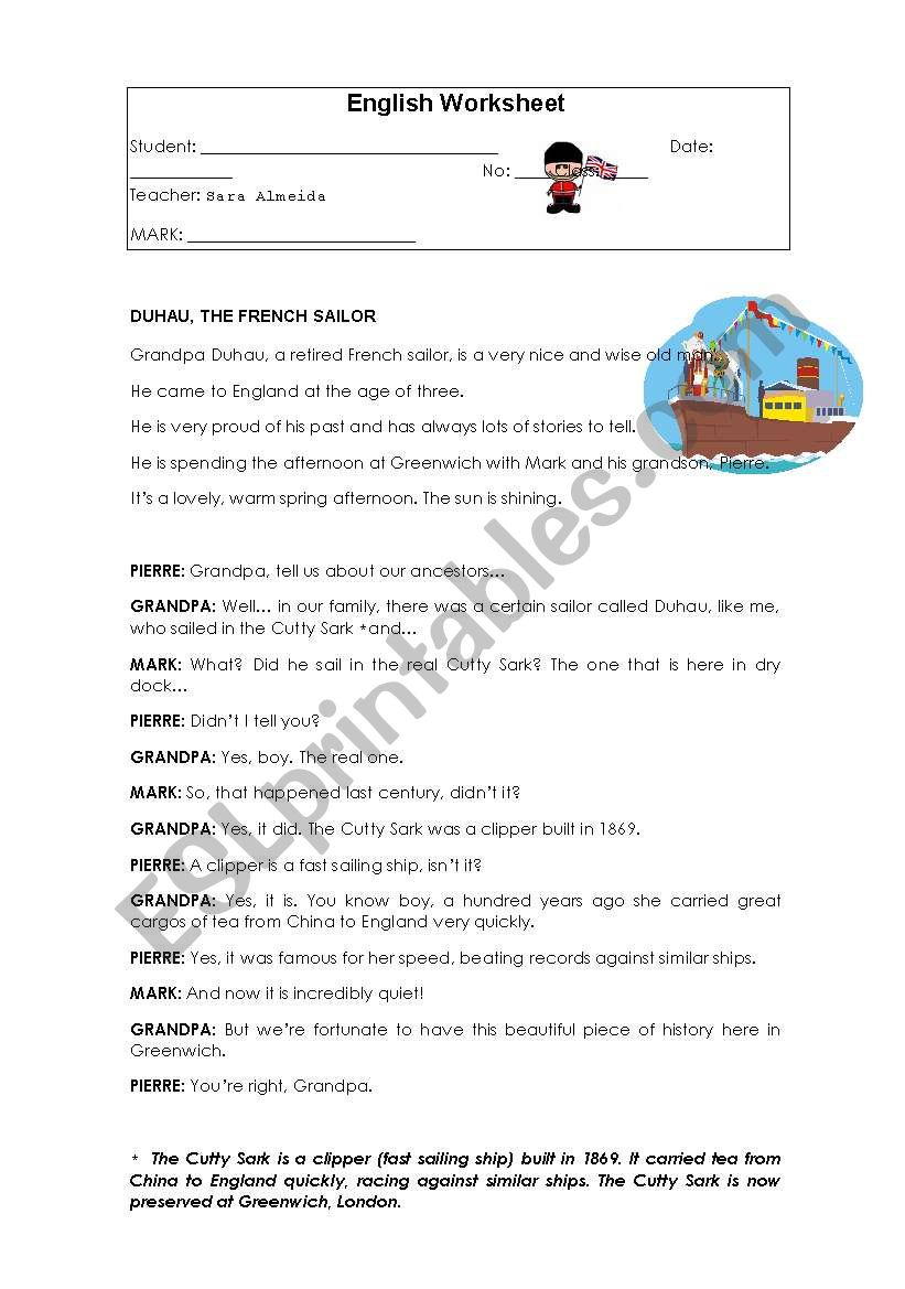 - Reading Comprehension 6th Grade - ESL Worksheet By Sara Almeida