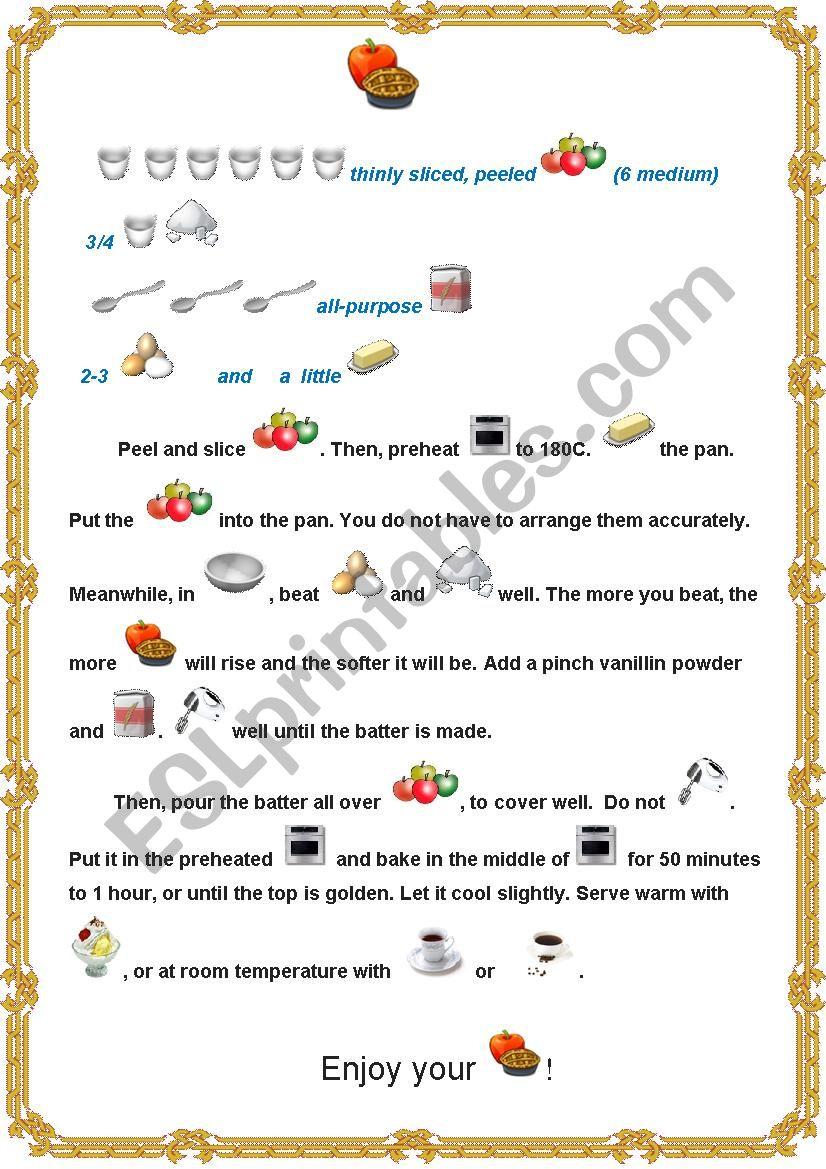 Apple Pie Recipe worksheet