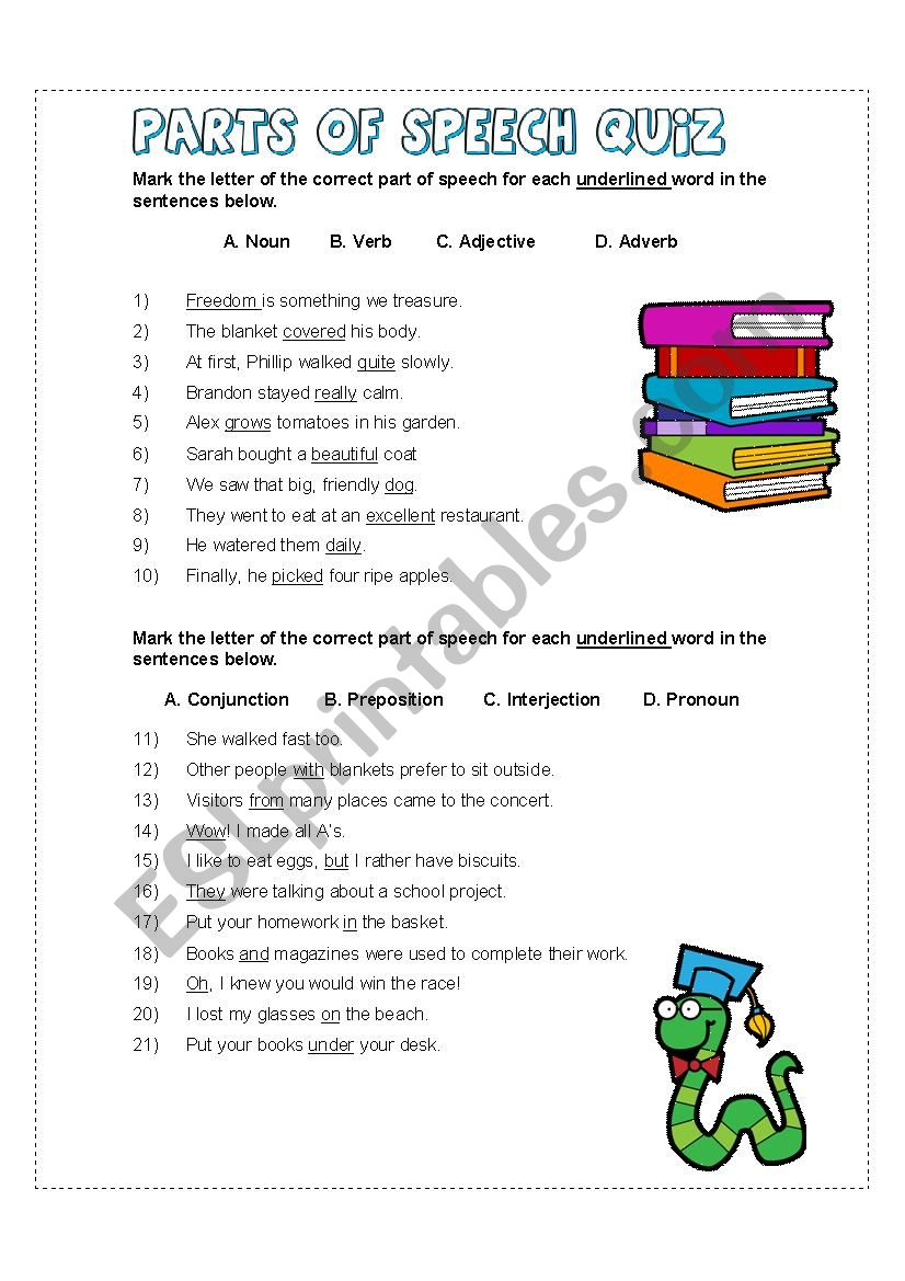 graphic about Parts of Speech Quiz Printable named Sections of Speech Quiz - ESL worksheet via debbiecobb5