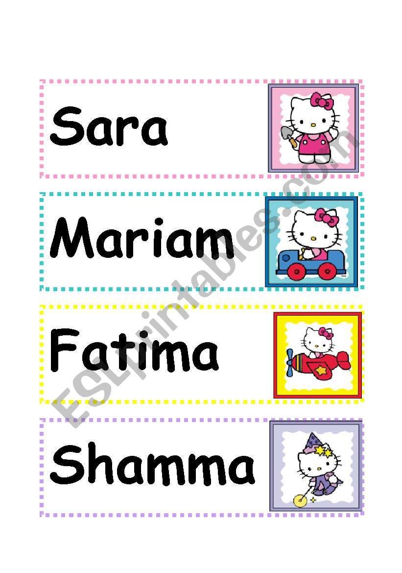 Name Plates worksheet