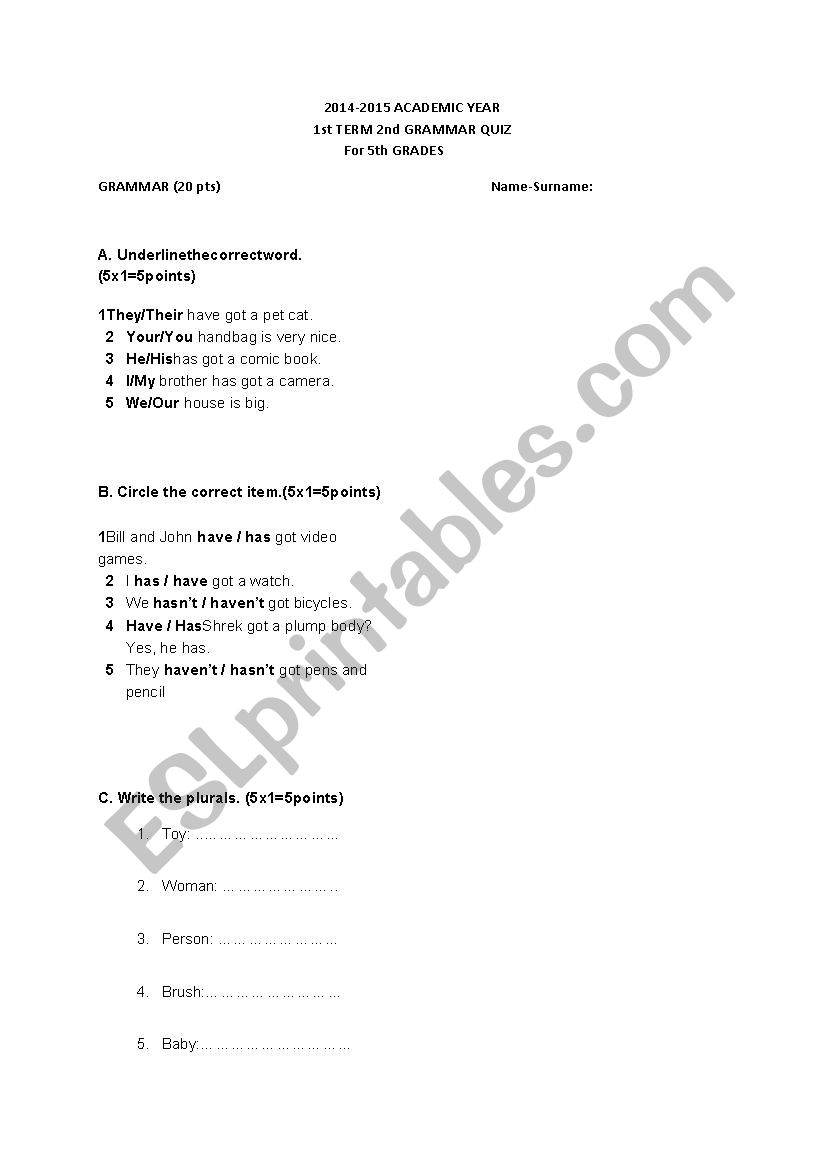 quiz for elementry level worksheet