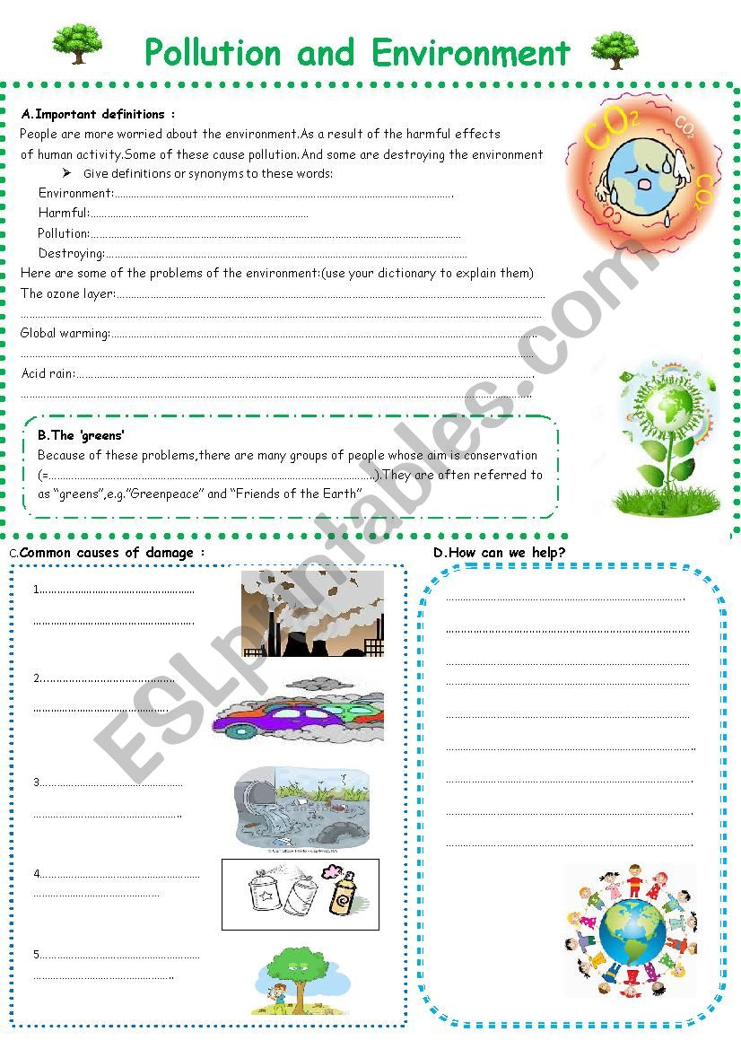 pollution and the environment worksheet