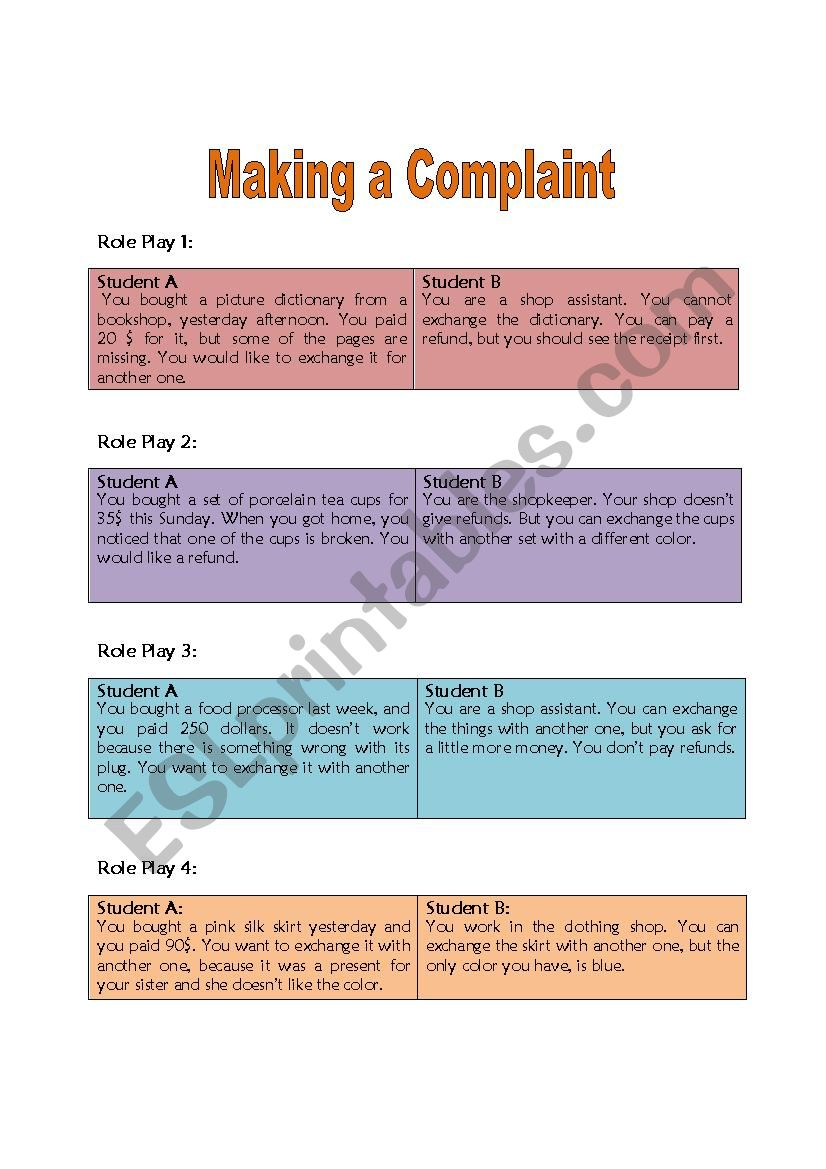 Making a Complaint; Flashcards for Role Play