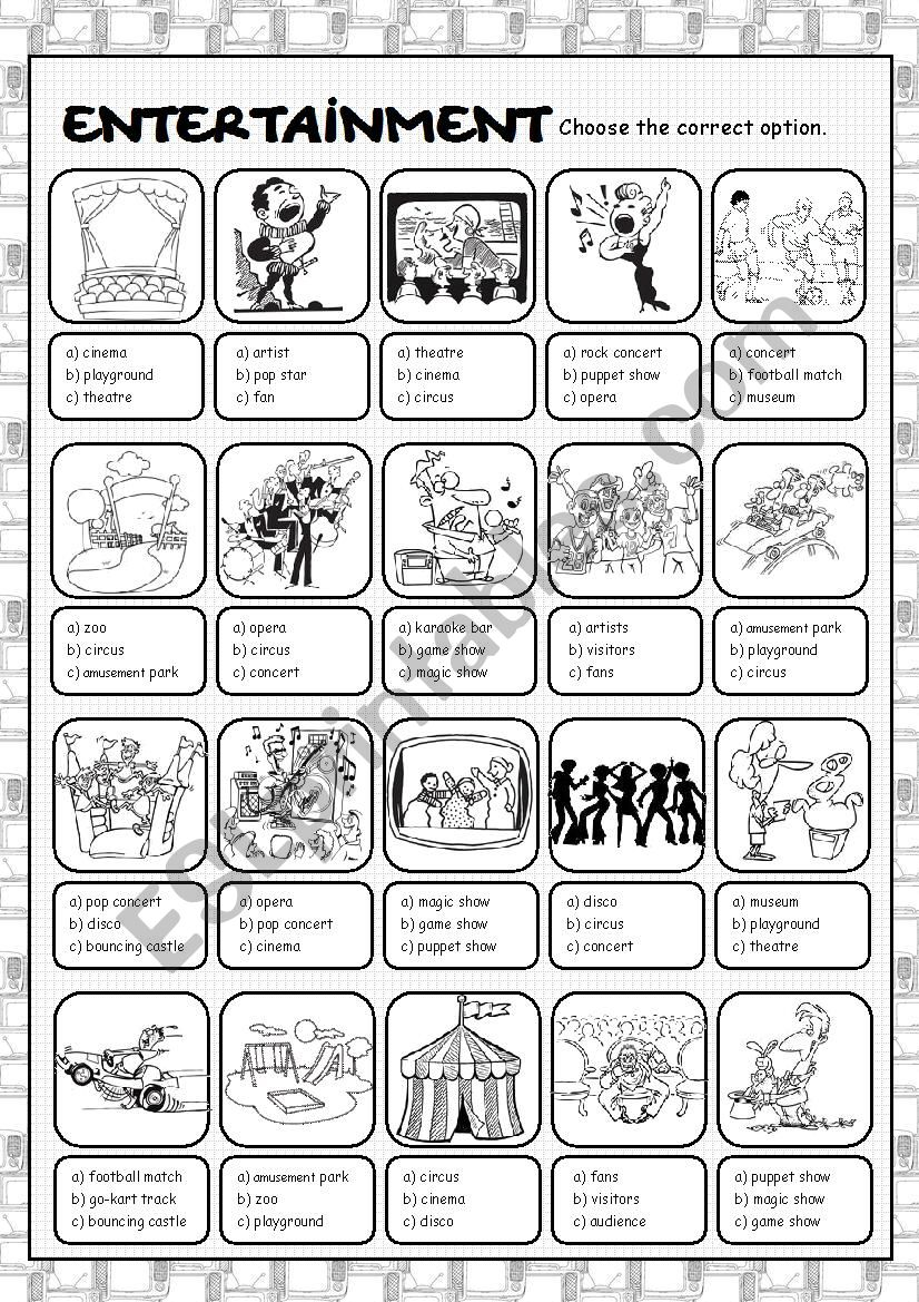 Entertainment Multiple Choice worksheet