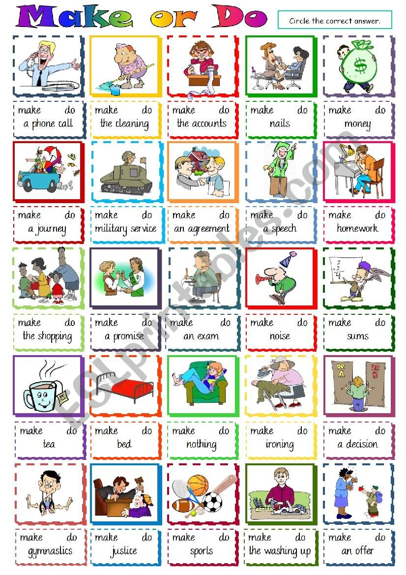Make or Do - multiple choice worksheet
