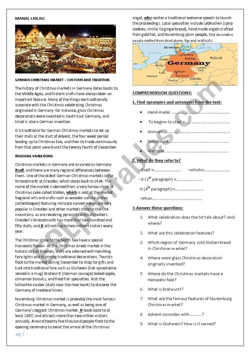 Germany Christmas Market worksheet