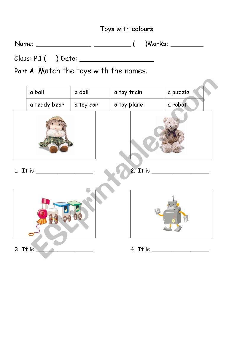 Toys with colours worksheet