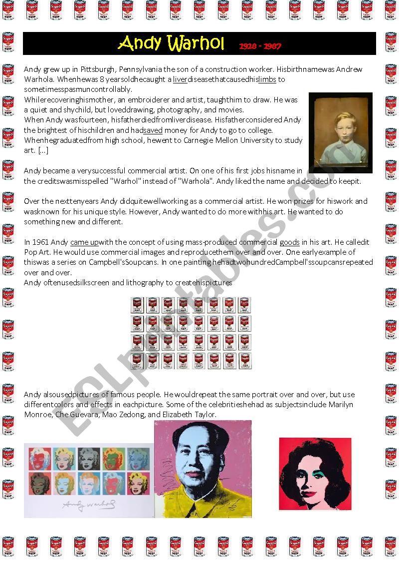 Biography Andy Warhol worksheet