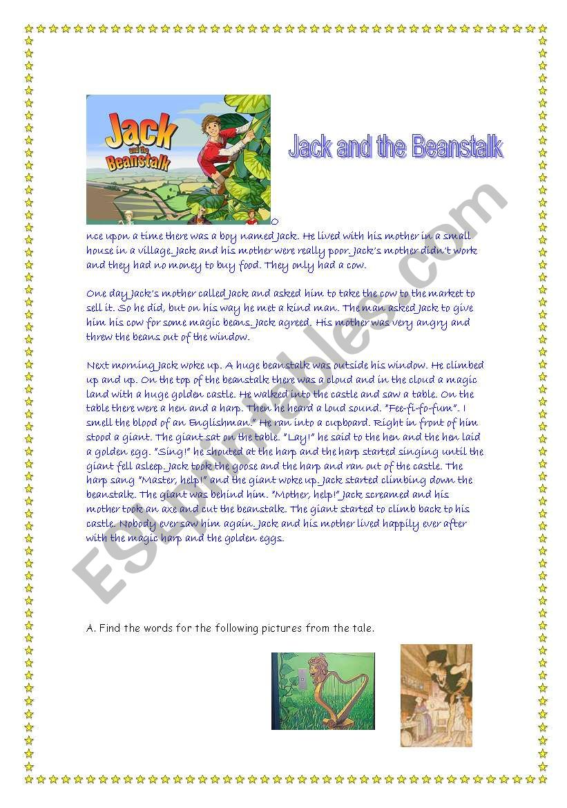 photograph relating to Jack and the Beanstalk Story Printable identified as JACK AND THE BEANSTALK - ESL worksheet by means of natval