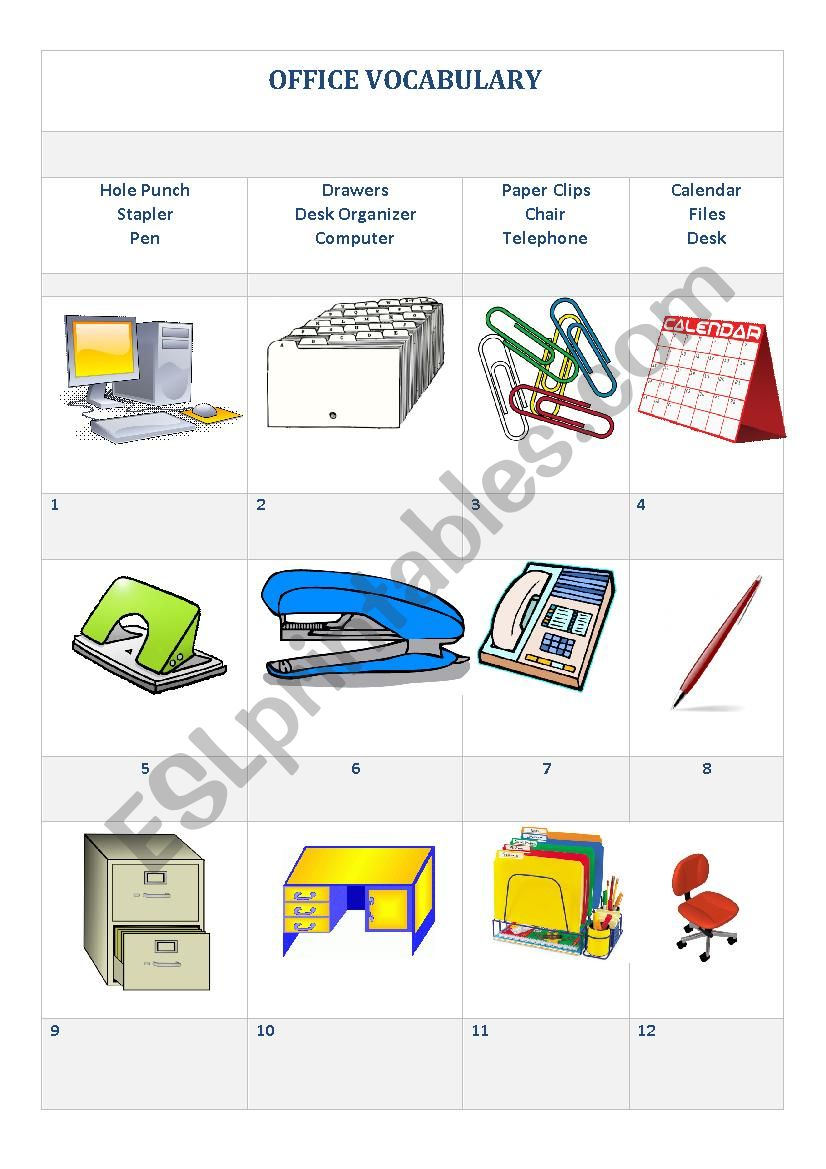Office Vocabulary Esl Worksheet By Syrian1234