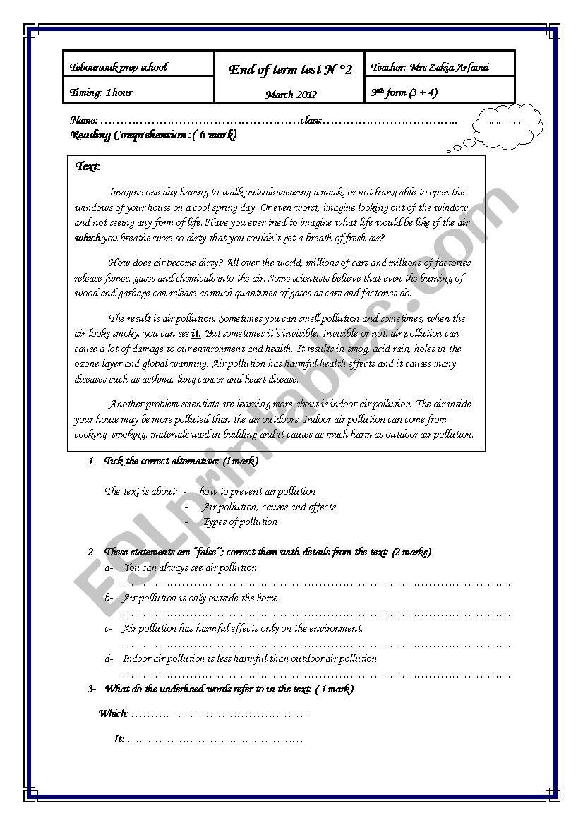 full term test n2 9th form worksheet