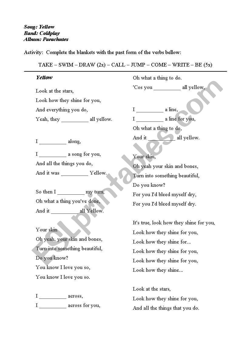 Yellow - By Coldplay worksheet