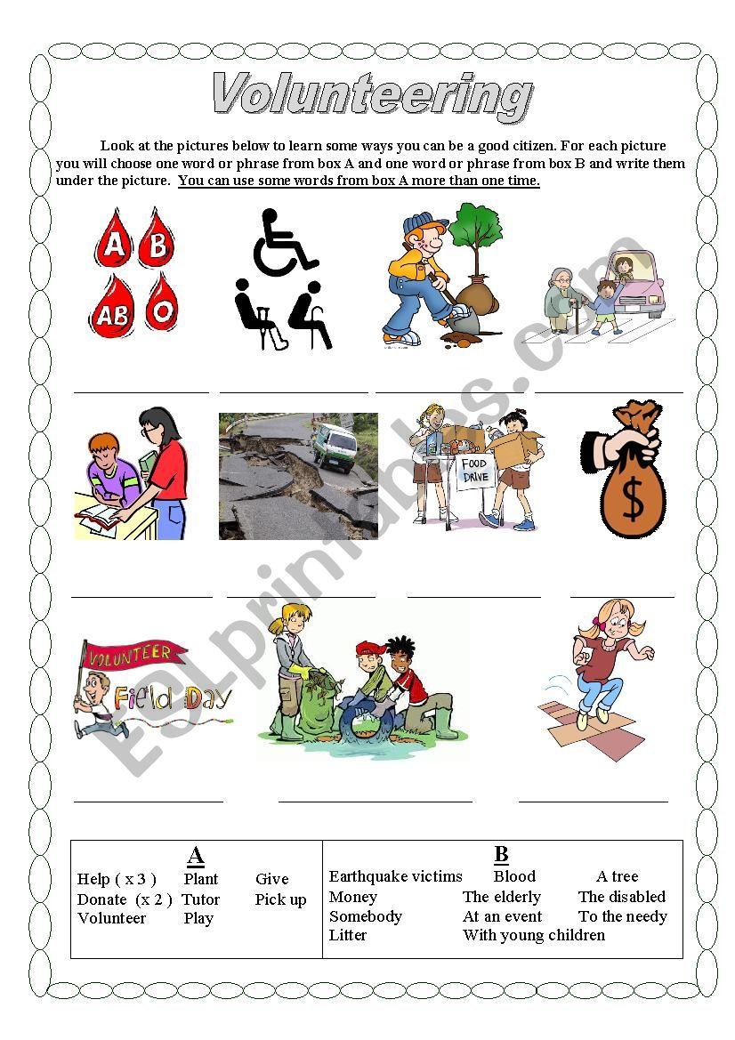 Volunteering worksheet