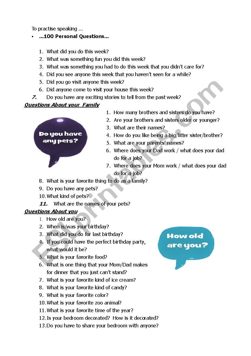100 Questions  worksheet