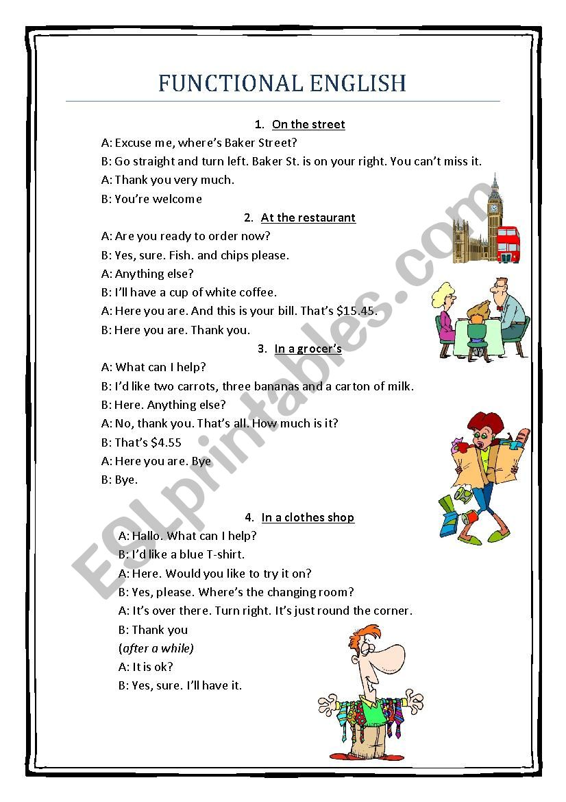 Functional English worksheet