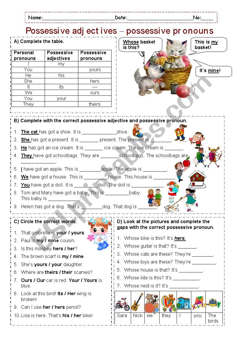 Possessive adjectives - Possessive pronouns
