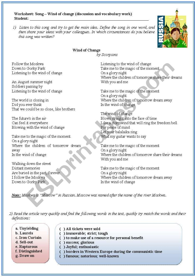 Song activity - Wind of Change by Scorpions (discussion and reading comprehension)