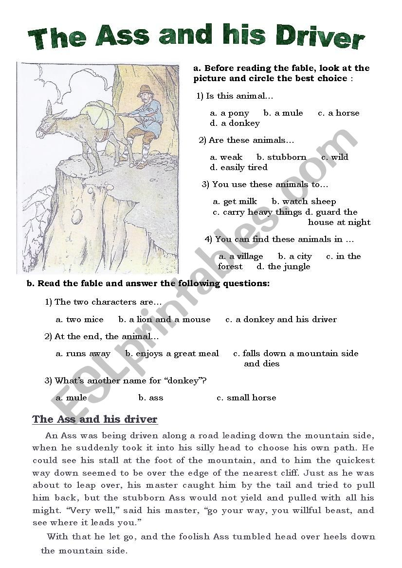 Aesop, The Ass and his driver worksheet