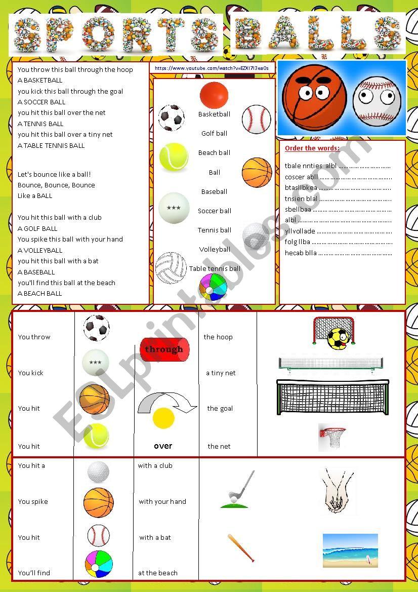 SPORTS BALLS worksheet