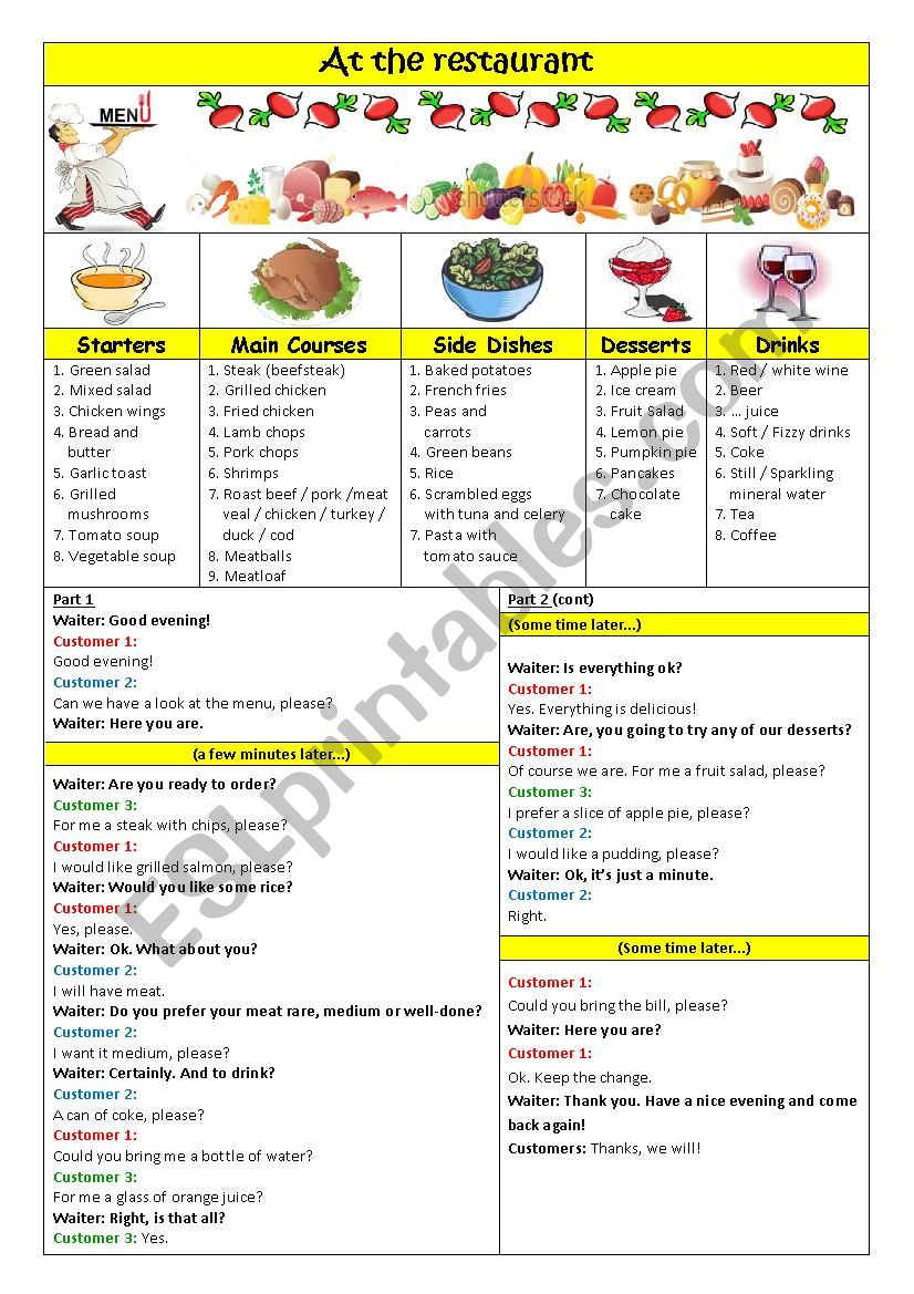 Menu + At the restaurant worksheet