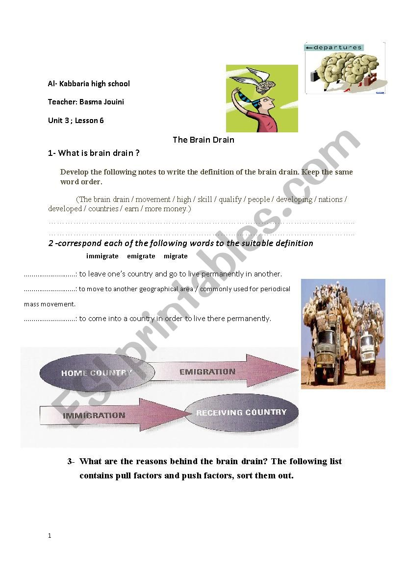 brain drain worksheet