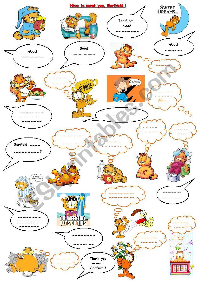 Garfield and greetings esl worksheet by catseyes garfield and greetings worksheet m4hsunfo