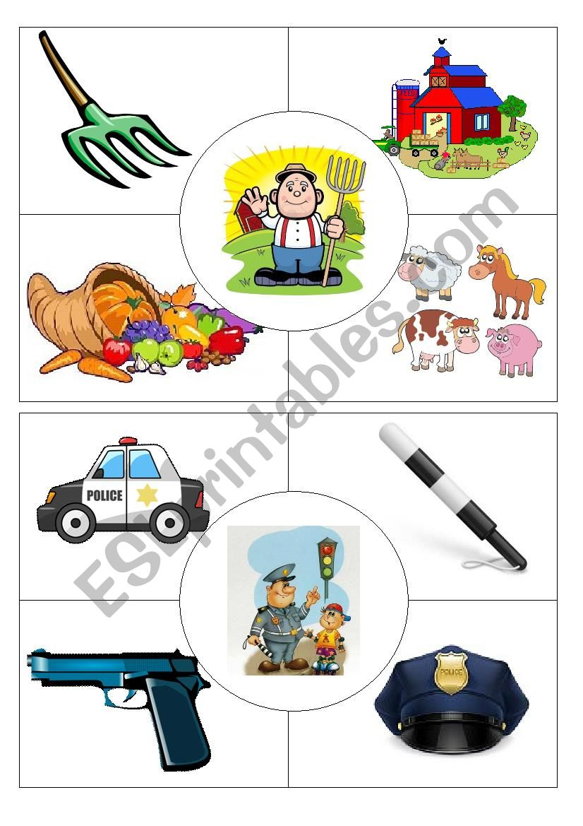Job puzzles Farmer&Policeman worksheet