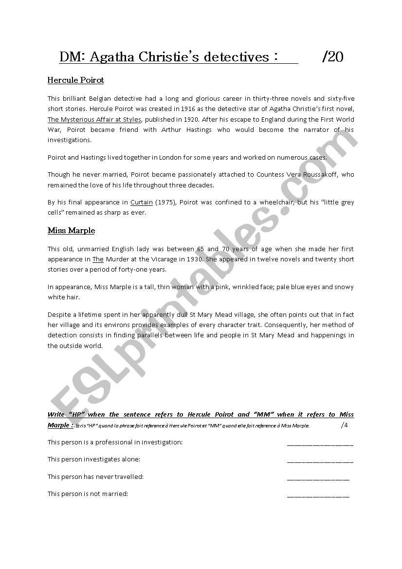 Agatha Christie´s detectives worksheet