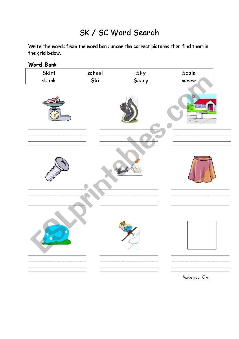 SK SC phonics blend worksheet worksheet