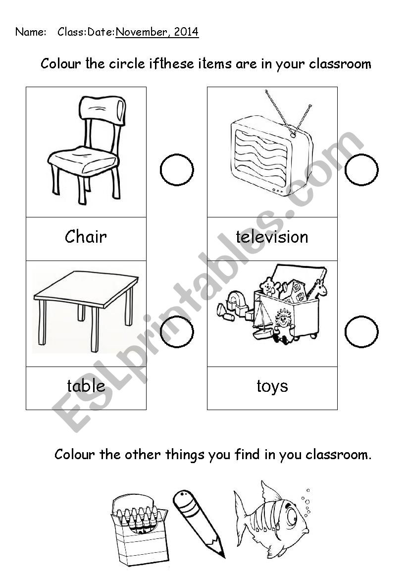 My School My Classroom Esl Worksheet By Joeyclaris