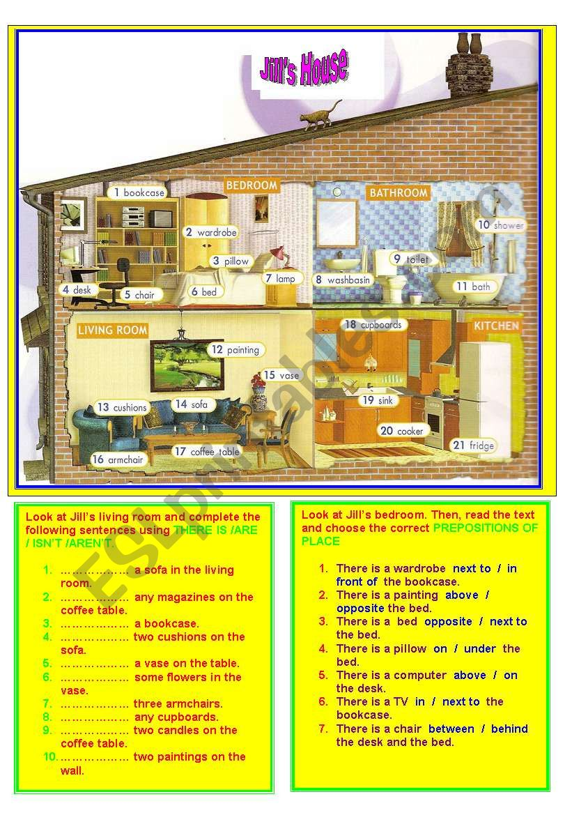 ROOMS&HOUSEHOLD OBJECTS&THERE IS/ARE&PREPOSITIONS OF PLACE