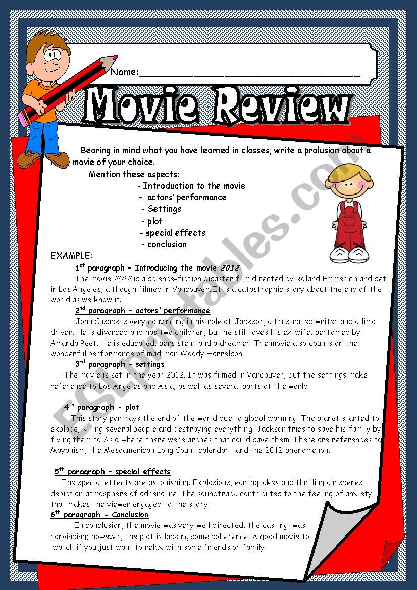 movie review worksheet