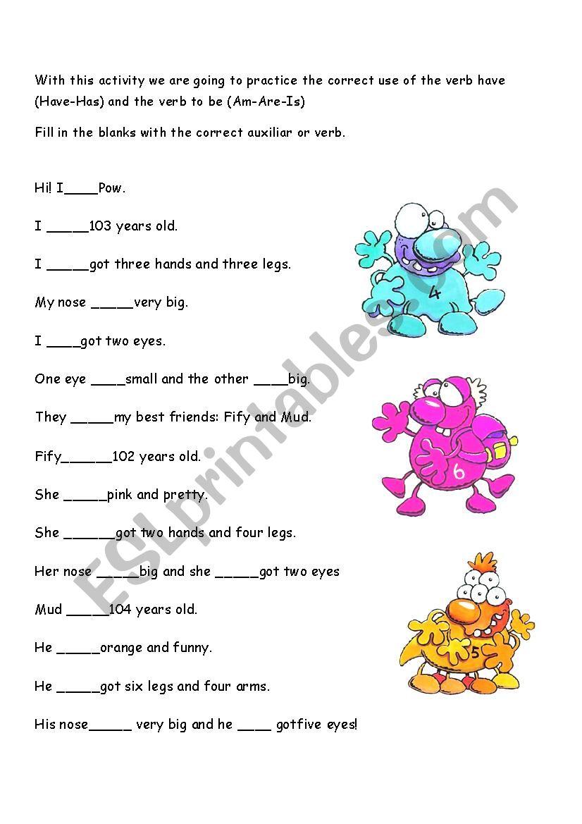 Monsters activity worksheet