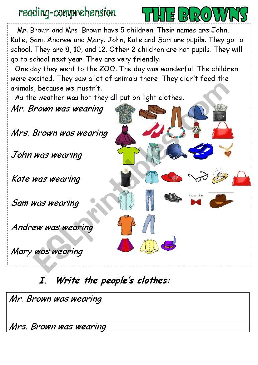 - The Browns. Reading-comprehension. Clothes. - ESL Worksheet By