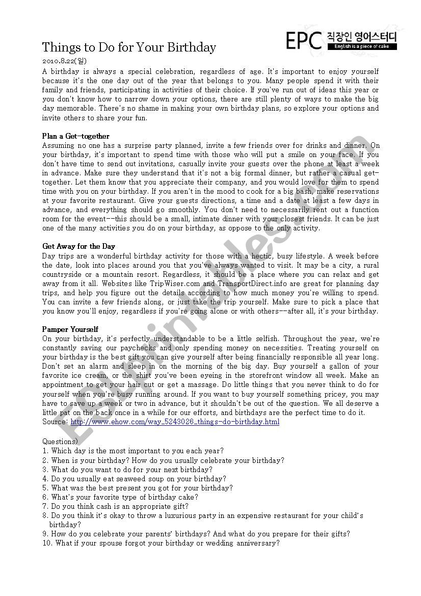 Things To Do On Your Birthday.Things To Do On Your Birthday Esl Worksheet By Jenn841110