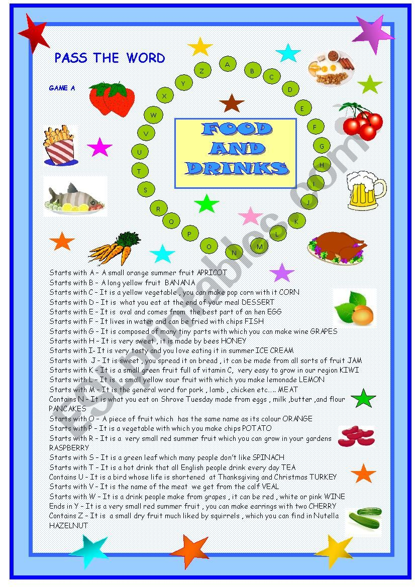 Food, pass the word game worksheet