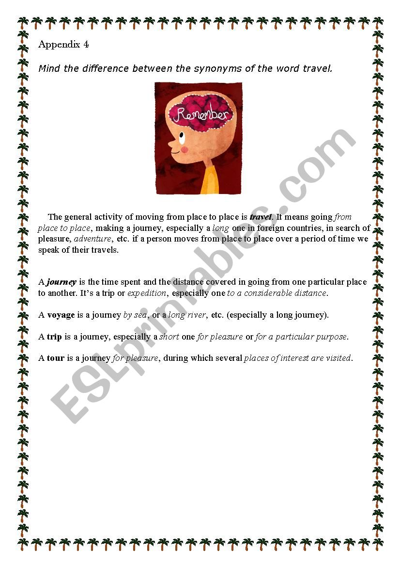 Synonyms of the word TRAVEL - ESL worksheet by Lilica18